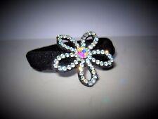 Black flower sparkle crystal rhinestone hair tie scrunchie ponytail holder