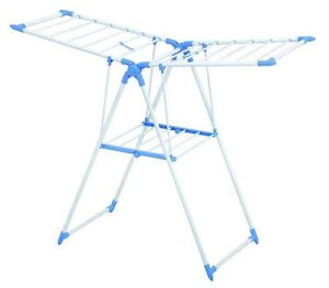 2 Tier Blue Aluminium Clothes Cloth Drying Rack Airer Indoor Outdoor Folding 35M