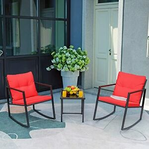 Colorful Rocking Seat,3 Pieces Patio Chair Set,Glass Coffee Table,Metal+Rattan