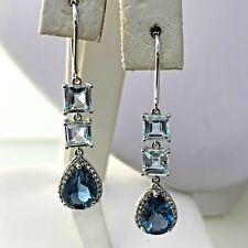 Aquamarine & Topaz Drop Dangle Earrings in Sterling Silver  #3