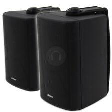 More details for 2x black waterproof wall mountable speakers pa 100v line system 120w uk stock