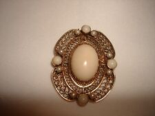 Coral Pearl Huge Pendant Pin Brooch Vintage 14Kt Solid Yellow Gold Angel Skin