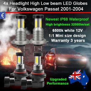 For Volkswagen Passat 2001-2004 4x 360° 32000lm Headlight Globe High Low Beam