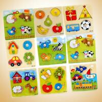 Animal Wooden Brick Puzzle Toys For Baby Kids Early Educational Toy Colorful