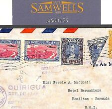 MS4175 1941 Guatemala BISECT Franking WW2 Air INTERRUPTED Cover BERMUDA Censor
