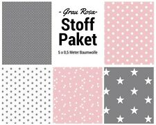 Stoffpaket rosa grau 5x (0,5 x 1,50m) Patchworkpaket Baumwolle Nähpaket Stoffe