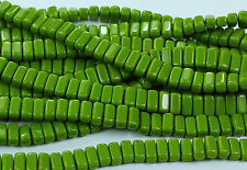 50 CzechMates Two Hole 2-Hole Brick Glass Beads Opaque Olive 3x6mm