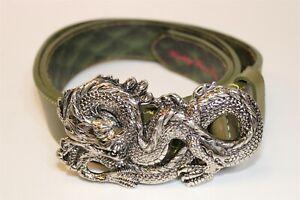 Robert Graham Mens 38 (36-40) Green Hand Made Leather Belt & Dragon Buckle