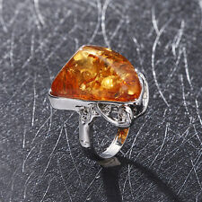 Charms Gorgeous Vintage Baltic Antique Silver Ring Jewelry Size 10 Amber Colors