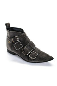 Burberry Womens Milner Suede Pointed Toe Buckle Boots Gray Size 39.5 9.5