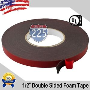 """1/2"""" Wide Double Sided acrylic Foam High Strength Adhesive Tape 60 Foot Roll USA"""