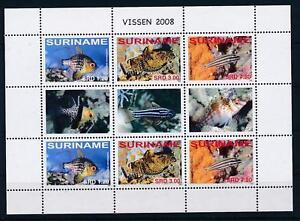 [SUV 1511] Suriname 2008 Marine Life Tropical Fish Miniature Sheet with tab  MNH