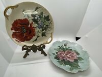 Vintage Hand-Painted Artist Signed Pink Rose and Poppy Flower Plates