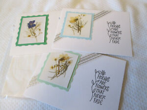 3 Handmade note greeting cards Pressed Flowers FRIENDS ARE FLOWERS