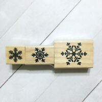 Snowflake Rubber Stamp Set Wood Mounted Recollections Holiday Christmas Winter