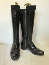 DUNE BLACK PATENT LEATHER & SUEDE ZIP TRIMS KNEE LENGTH BOOTS SIZE 5/38