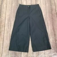 Ann Taylor Wide leg Marina Cropped Pants Womens Size 4P Petites Black Stretch