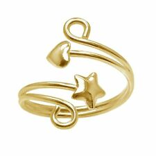Lovely 18K Yellow Gold Over Bypass Swirl Star & Heart Ring-Adjustable Toe Ring