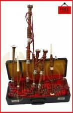 New Great Highland Rosewood Bagpipes Royal Stewart Silver Mounts With Hard Case