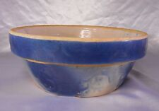"YELLOW WARE BOWL 9 3/8"" vintage Blue Floral Design / Swirl Bottom"