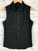 NWT Banana Republic Black Sleeveless Button Front Tailored Fit Top Blouse Size 6