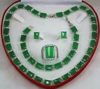 Hot Green Jade Bracelet/ Earrings /Ring / Necklace Set Handcrafted Jewelry  AAA