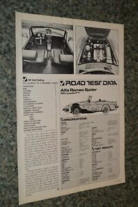 ★★1978 ALFA ROMEO SPIDER NIKI LAUDA F1 ORIGINAL FIRST LOOK ROAD TEST SPEC SHEET