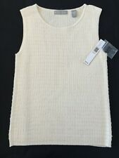 Kate Hill Silk Blend Sleeveless Shell w/ Crystals - Creme/Ivory  Sz S  NWT