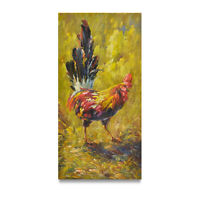 NY Art - Impressionist Portrait of a Rooster 12x24 Original Oil Painting - Sale!