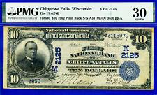 TOP POP 1/0 - 1902 $10 National Plain Back - PMG 30 - Chippewa Falls CH # 2125