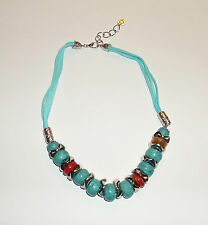 """20"""" 22"""" CHUNKY FAUX TURQUOISE BEAD NECKLACE suede CORD SILVER PLATED TRIBAL BD"""