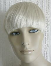 light pale blonde clip in on fake fringe bangs hair extension fancy dress new