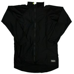 Aeroskin Nylon Long Sleeve Zip Front Hi-Low Swim Rash-guard Top, Black, XL