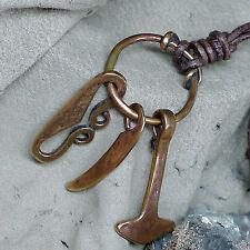 Wikingeranhänger Bronze Waffenanhänger Lederschnur Feuereisen Thorshammer viking