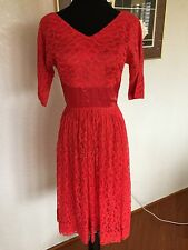 Red Lace Vintage Dress Size S
