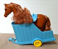 1990s Vintage Brown Barbie Horse and Blue Horse Trailer, with Blue Saddle
