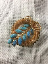 o Vintage Hobe Brooch Pin Turquoise Art Glass And Crystals Gold Mesh Part Of Set