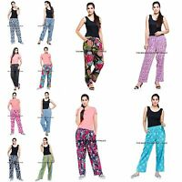 Women Indian Cotton Floral Print Elastic Waist Loose Fit Gypsy Pant Trousers