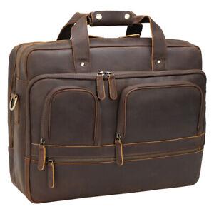 """Men Leather Briefcase Handbag Messenger Bag 17"""" Laptop Case Overnight Travel Bag"""