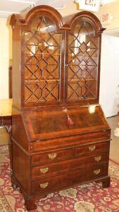 Finest Burled Walnut Queen Anne Dome Top Secretary Desk By Lloyd Buxton