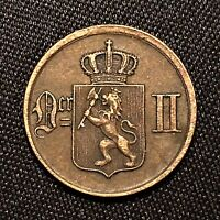 1876 Norway 1 Ore Coin, KM# 352, AU, First Year of Series and Scarce Better Date
