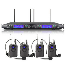 Rocket 4 Channel UHF Lavalier/Lapel Wireless Microphone System Mic with Headset