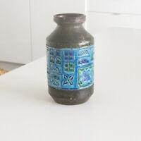 Bitossi Vase Rimini Blue Vintage Stoneware Mid Century Modern Aldo Londi Green