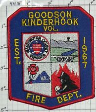 VIRGINIA, GOODSON KINDERHOOK VOL FIRE DEPT PATCH