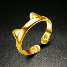 Paws and Ears Cat  Ring Gold Plated Women ring