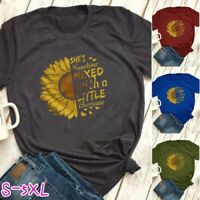 Womens T-shirt Sunflower Print Funny Short Sleeve O Neck Tee Shirt Fitness Tops