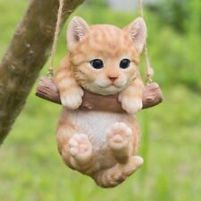 Hanging ORANGE TABBY CAT -Life Like Figurine Statue Home Garden NEW