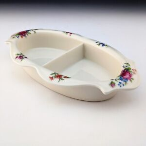 SUPER Unusual Lenox China Vintage Aurora Rose Divided Dish Condiment or Baby?