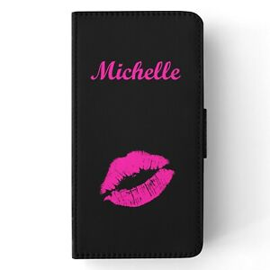 Personalised Name PU Leather Flip Wallet Phone Case Cover Pink Kiss Lips Design