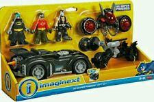 Imaginext BATMAN DC Super Friends Figure Set Robin Bane BATMOBILE batciclo NUOVO CON SCATOLA